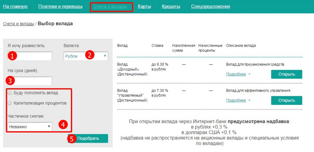 оформление депозитов в онлайн-банке