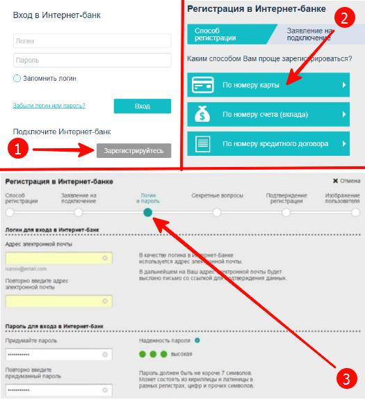 порядок регистрации в интернет-банке для частных лиц